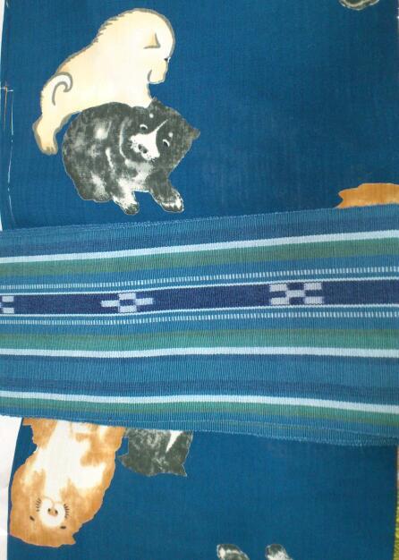 犬柄の浴衣